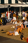 Wimbledon Lawn Tennis London, drunk female spectator has bucket of water thrown over her by a friend. 1993 1990s UK