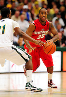 21 January 2010: Stony Brook University Seawolves' guard Muhammad El-Amin, a Senior from Lansing, MI, in action against the University of Vermont Catamounts at Patrick Gymnasium in Burlington, Vermont. The Catamounts fell to the Seawolves 65-60 in the America East matchup. Mandatory Credit: Ed Wolfstein Photo