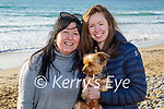 Enjoying a stroll in Banna beach on Monday, l to r: Rebeka Wall and Ash McGuire with their dog.