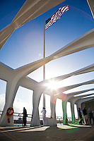 Visitors and military personnel at the Arizona Memorial at Pearl Harbor, Oahu