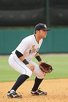 Charleston Riverdogs third baseman Dante Bichette jr. #19 playing his position during a game against the Savannah Sand Gnats at Joseph P. Riley Jr. Park on May 16, 2012 in Charleston, South Carolina. Charleston defeated Savannah by the score of 14-5. (Robert Gurganus/Four Seam Images)