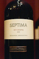 Bottles of Septima Mendoza Reserva 2002 from Codorniu Mendoza. The Oviedo Restaurant, Buenos Aires Argentina, South America