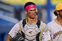 Bradenton Marauders catcher Endy Rodriguez (5) before a game against the Dunedin Blue Jays on June 5, 2021 at TD Ballpark in Dunedin, Florida.  (Mike Janes/Four Seam Images)