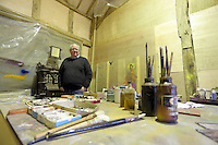 Pictured: Trustee Simon Mundy in the artist's studio  Friday 02 December 2016<br /> The Sidney Nolan Trust, Rodd, Herefordshire, England, UK