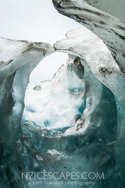 Green ice of ice cave on Franz Josef Glacier, Westland National Park, West Coast, World Heritage, South Island, New Zealand