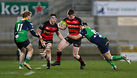 Friday 6th March 2020 | Armagh RFC vs Ballynahinch RFC<br /> <br /> Shea O'Brien is tackled by Ross Adair during the Bank Of Ireland Ulster Senior Cup Final between the City of Armagh RFC and Ballynahinch RFC at Kingspan Stadium, Ravenhill Park, Belfast, Northern Ireland. Photo by John Dickson / DICKSONDIGITAL