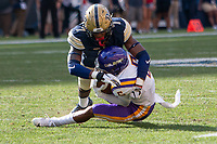 Pitt defensive back Jazzee Stocker makes a tackle of Albany wide receiver Dev Holmes. The Pitt Panthers football team defeated the Albany Great Danes 33-7 on September 01, 2018 at Heinz Field, Pittsburgh, Pennsylvania.