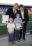 St Johnstone Player of the Year Awards 2014-15.....16.05.15<br /> Saul and Ruben MacDonald present the Community Involvement Award to Lee Croft and Murray Davidson<br /> Picture by Graeme Hart.<br /> Copyright Perthshire Picture Agency<br /> Tel: 01738 623350  Mobile: 07990 594431