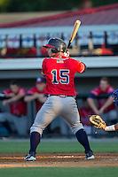 Tanner Murphy (15) of the Danville Braves at bat against the Burlington Royals at Burlington Athletic Park on July 5, 2014 in Burlington, North Carolina.  The Royals defeated the Braves 5-4.  (Brian Westerholt/Four Seam Images)