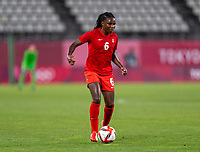 KASHIMA, JAPAN - AUGUST 2: Deanne Rose #6 of Canada dribbles during a game between Canada and USWNT at Kashima Soccer Stadium on August 2, 2021 in Kashima, Japan.