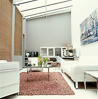 In the living room of a Paris apartment light floods in from a large skylight accentuating the feeling of light and space created by the grey and white colour scheme and simple furniture