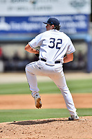 Asheville Tourists starting pitcher Riley Pint (32) delivers a pitch during a game against the Rome Braves at McCormick Field on July 30, 2017 in Asheville, North Carolina. The Braves defeated the Tourists 7-3. (Tony Farlow/Four Seam Images)