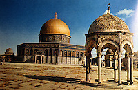 """Islamic Architecture:  Dome of the Rock.  """"An edifice of the Pre-Islamic type"""".  685-705.  The Rock, according to tradition, was the place of Abraham's sacrifice. Arabs claimed him as a father."""