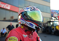 Jun. 30, 2012; Joliet, IL, USA: NHRA pro stock motorcycle rider Hector Arana Sr during qualifying for the Route 66 Nationals at Route 66 Raceway. Mandatory Credit: Mark J. Rebilas-