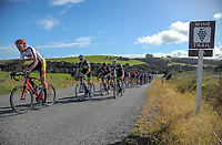 Lachlan Robertson leads Josh Lane and Jacob Hannan.  Under-19 Men's road race, Carterton-Martinborough-Gladstone circuit. Day three of the 2018 NZ Age Group Road Cycling Championships in Carterton, New Zealand on Sunday, 22 April 2018. Photo: Dave Lintott / lintottphoto.co.nz