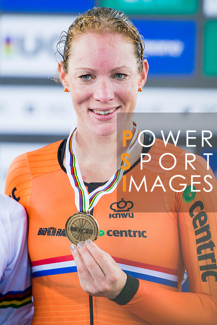 Kirsten Wild of the Netherlands receives the bronze medal in the Women's Points Race 25 km's prize ceremony during the 2017 UCI Track Cycling World Championships on 16 April 2017, in Hong Kong Velodrome, Hong Kong, China. Photo by Marcio Rodrigo Machado / Power Sport Images