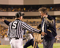Pitt head coach Dave Wannstedt argues a call. The Pitt Panthers upset the West Virginia Mountaineers 13-9 on December 01, 2007 in the 100th edition of the Backyard Brawl at Mountaineer Field, Morgantown, West Virginia.