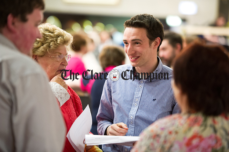 Cillian Griffey of Fine Gael during the election count at The West county Hotel, Ennis. Photograph by John Kelly.