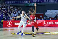 13th October 2021; Wizink Center; Madrid, Spain; Turkish Airlines Euroleague Basketball; game 3; Real Madrid versus AS Monaco; Thomas Heurtel (Real Madrid Baloncesto) brings the ball forward against Paris Lee (AS Monaco)