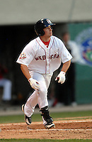 Pawtucket Red Sox' OF Daniel Nava follows the flight of his three run HR vs. the Indianapolis Indians at McCoy Stadium in Pawtucket, RI on April 30, 2009 (Photo by Ken Babbitt/Four Seam Images)