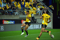 Hurricanes' Ngani Laumape celebrates his try during the Super Rugby Tran-Tasman match between the Hurricanes and Reds at Sky Stadium in Wellington, New Zealand on Friday, 11 June 2020. Photo: Dave Lintott / lintottphoto.co.nz