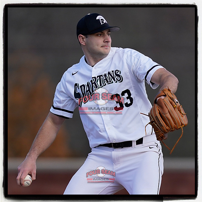Pitcher Jordan Marks (33) of the University of South Carolina Spartans has been selected by the Detroit #Tigers in the 8th round (225 overall) in the 2021 MLB Draft. He's pictured in a game against the Toledo Rockets on February 19, 2021, at Cleveland S. Harley Park in Spartanburg, South Carolina. (Tom Priddy/Four Seam Images)