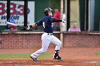 Elizabethton Twins center fielder Caleb Hamilton (4) swings at a pitch during game against the Burlington Royals at Joe O'Brien Field on August 24, 2016 in Elizabethton, Tennessee. The Royals defeated the Twins 8-3. (Tony Farlow/Four Seam Images)