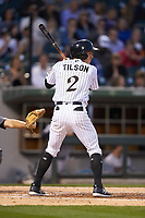 Charlie Tilson (2) of the Charlotte Knights at bat against the Scranton/Wilkes-Barre RailRiders at BB&T BallPark on April 12, 2018 in Charlotte, North Carolina.  The RailRiders defeated the Knights 11-1.  (Brian Westerholt/Four Seam Images)