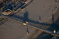 aerial photograph of the Huntington Beach Pier, Orange County, California in the late afternoon