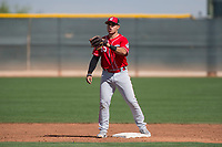 Cincinnati Reds second baseman Alejo Lopez (55) during a Minor League Spring Training game against the Los Angeles Angels at the Cincinnati Reds Training Complex on March 15, 2018 in Goodyear, Arizona. (Zachary Lucy/Four Seam Images)