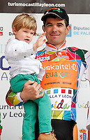 Pablo Urtasun (Euskaltel Euskadi team) with his son celebrates winning the first stage of the Castilla and Leon 2013 Cycling Tour. The first stage of the 28th tour took place from Arevalo (Avila) to Valladolid. April 12, 2013. Valladolid, Spain. (Alterphotos/Victor J Blanco) /NortePhoto