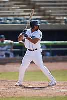 Jonathan Rodriguez (32) of the Lynchburg Hillcats at bat against the Myrtle Beach Pelicans at Bank of the James Stadium on May 23, 2021 in Lynchburg, Virginia. (Brian Westerholt/Four Seam Images)