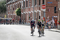 breakaway group forming up the Wijnpersstraat<br /> <br /> 55th Grote Prijs Jef Scherens - Rondom Leuven 2021 (BEL)<br /> One day race from Leuven to Leuven (190km)<br /> ridden over the final circuit of the 2021 World Championships road races <br /> <br /> ©kramon