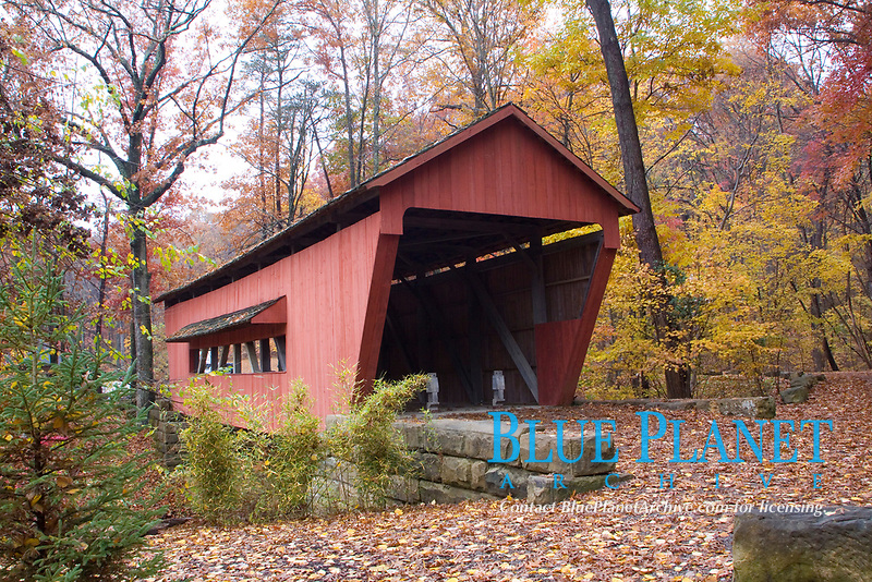 George Hutchins Covered Bridge. Built in 1865 originaly over Clear Creek but later moved to Lake Loretta Park in 1988. Located near the city of Lancaster, Ohio.