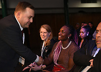 MTK Global Boxing Promoter Lee Eaton (L) greets Claressa Shields during a Boxing Show at York Hall on 9th November 2019