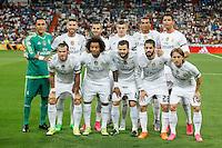 Real Madrid´s initial team during Santiago Bernabeu Trophy match at Santiago Bernabeu stadium in Madrid, Spain. August 18, 2015. (ALTERPHOTOS/Victor Blanco)