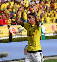 BARRANQUILLA -COLOMBIA, 1-SEPTIEMBRE-2016. James Rodríguez jugador de Colombia celebra su gol contra  Venezuela durante el  encuentro  por las eliminatorias al mundial de Rusia 2018  disputado en el estadio Metropolitano Roberto Meléndez de Barranquilla./ James Rodriguez Colombia player celebrates his goal against of Venezuela during the qualifying match for the 2018 World Championship in Russia Metropolitano Roberto Melendez stadium in Barranquilla . Photo:VizzorImage / Felipe Caicedo  / Staff