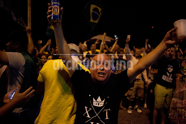 Suppoorters of right wing presidential candidate Jai Bolsonaro celebrating his victory over his opponent, PT party Fernando Haddad, becoming the new president of Brazil