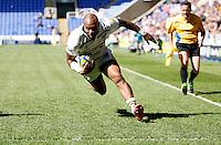 Photo: Richard Lane/Richard Lane Photography. London Irish v Wasps. Aviva Premiership. 16/05/2015. Wasps' Sailosi Tagicakibau crosses the line for a try.