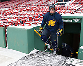 Jordan Heywood (Merrimack - 4) -  - The participating teams in Hockey East's first doubleheader during Frozen Fenway practiced on January 3, 2014 at Fenway Park in Boston, Massachusetts.