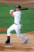 Boston Red Sox outfielder Jacoby Ellsbury #2 in an at bat for the Pawtucket Red Sox during a game versus the Syracuse Chiefs at McCoy Stadium in Pawtucket, Rhode Island on July 7, 2012. Ellsbury is with PawSox on a rehabilitation assignment.   (Ken Babbitt/Four Seam Images)