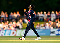 Qais Ahmad of Kent celebrates taking the wicket of Miles Hammond LBW during Kent Spitfires vs Gloucestershire, Vitality Blast T20 Cricket at The Spitfire Ground on 13th June 2021