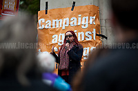 """Jennifer Huseman (Member of Sacred Stone UK Solidarity Network).<br /> <br /> London, 29/04/2017. Today, """"Campaign Against Climate Change"""" held a demonstration started at Old Palace Yard and ended on Westminster Bridge, where people formed a human chain showing the message: """"Trump & May Climate Disaster"""". The demonstration was in support and solidarity with the People's Climate March in the US (and over 350 other marches taking place across the globe) and to warn the British Prime Minister Theresa May to stop following Donald Trump """"down the path to climate disaster"""".<br />   <br /> For more information please click here: https://www.facebook.com/events/747422225425039/ & (Video) https://www.facebook.com/campaigncc/videos/1300562783385237/ & (Press Release) http://www.campaigncc.org/node/1782"""
