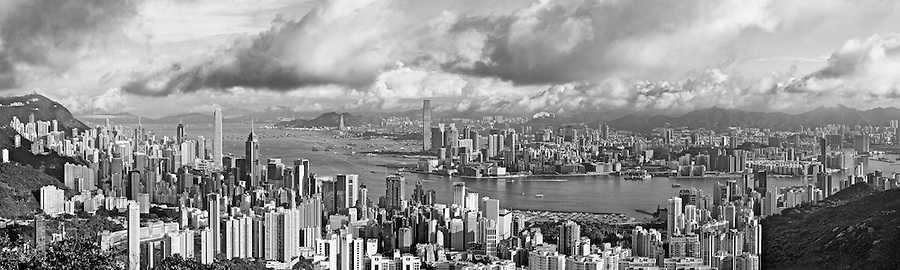 Early morning view over Central, Wanchai Causeway Bay and Tsim Sha Tsui from Jardine's Lookout. An eight-image panorama.