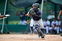 GCL Yankees West catcher Hemmanuel Rosario (21) waits to receive a throw during the second game of a doubleheader against the GCL Braves on July 30, 2018 at Champion Stadium in Kissimmee, Florida.  GCL Braves defeated GCL Yankees West 5-4.  (Mike Janes/Four Seam Images)