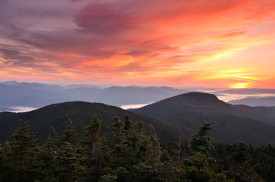 The sky is burning in the east, a fitting reward after a long pre dawn hike up another spectacular White Mountain peak.
