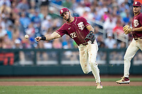 Florida State Seminoles third baseman Drew Mendoza (22) makes a throw to first base during Game 9 of the NCAA College World Series against the Texas Tech Red Raiders on June 19, 2019 at TD Ameritrade Park in Omaha, Nebraska. Texas Tech defeated Florida State State 4-1. (Andrew Woolley/Four Seam Images)