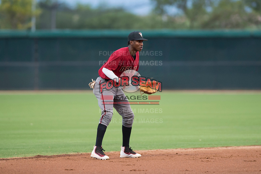 AZL Diamondbacks shortstop Geraldo Perdomo (12) during an Arizona League game against the AZL White Sox at Camelback Ranch on July 12, 2018 in Glendale, Arizona. The AZL Diamondbacks defeated the AZL White Sox 5-1. (Zachary Lucy/Four Seam Images)