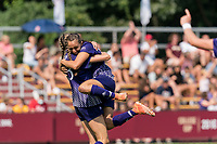NEWTON, MA - SEPTEMBER 12: Olivia Ferrara #14 of Holy Cross celebrates her goal with teammates during a game between Holy Cross and Boston College at Newton Campus Soccer Field on September 12, 2021 in Newton, Massachusetts.
