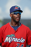 Fort Myers Miracle Akil Baddoo (24) during introductions before a Florida State League game against the Charlotte Stone Crabs on April 6, 2019 at Charlotte Sports Park in Port Charlotte, Florida.  Fort Myers defeated Charlotte 7-4.  (Mike Janes/Four Seam Images)